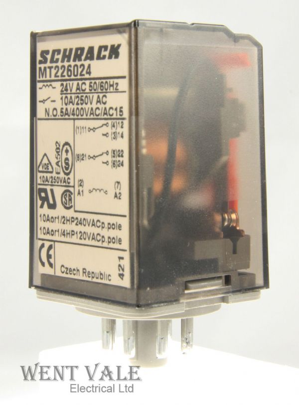 Schrack Multimode MT226024 - 10a - 8 Pin Plug-in DPD Relay 24vac Coil Un-used